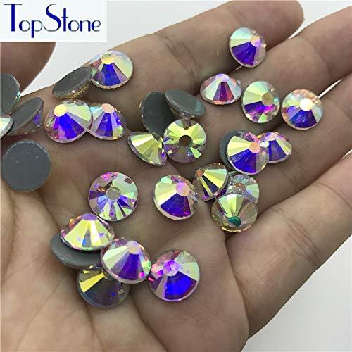 Pukido Big Size SS40 SS50 Crystal AB Round HotFix Rhinestones Crystal Glitter Strass Iron On Rhinestone for Motif Designs - (Size: 40ss - Crystal 40ss