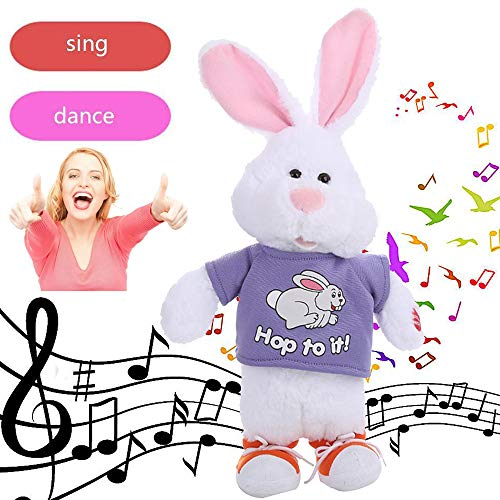 Christmas Toys,Electronic Bunny,Dancing Singing Music Cute Stuffed Plush Toy for Kids Adorable (AS Show)