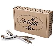 Delight Flatware Children's Stainless Steel Flatware Set - Fork and Spoon Made in the USA - Dishwasher Safe - Top Quality 18/10 Stainless Steel - Perfect Utensils for Toddlers and Growing Kids