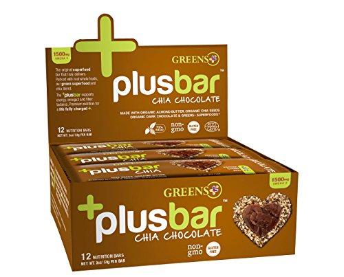 Omega 3 Chia Energy Bar Chocolate Box Greens+ (Orange Peel Enterprises) 12 Bars Box