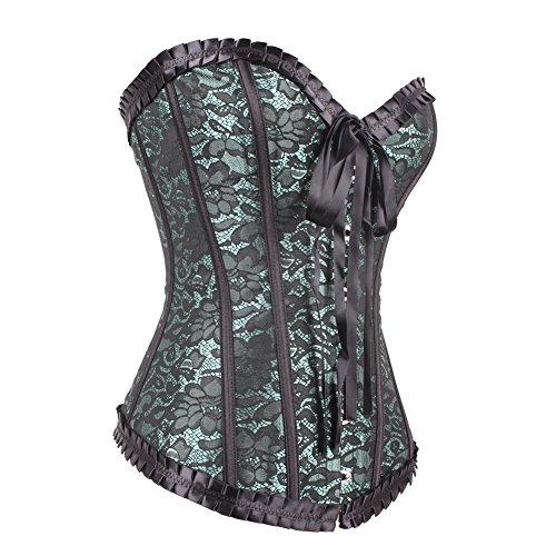 FeelinGirl–Halloween gótico Steampunk deshuesada de piel, acero Overbust cremallera frontal Cintura Formación Corsé negro Verde