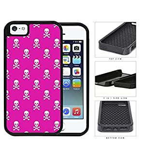 Mini Skull And Crossbones In Pink 2-Piece Dual Layer High Impact Rubber Silicone Cell Phone Case Apple iPhone 5 5s