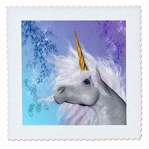 Background Quilt Fabric (3dRose qs_52240_1 White Unicorn Brilliant Horn and Pastel Background Art in High Definition Quilt Square, 10 by 10-Inch)