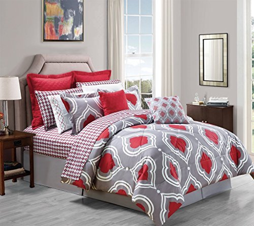 14-Piece Amy Comforter Set Red King