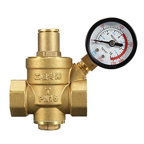 - CoCocina DN20 NPT 3/4 Adjustable Brass Water Pressure Regulator Reducer with Gauge Meter