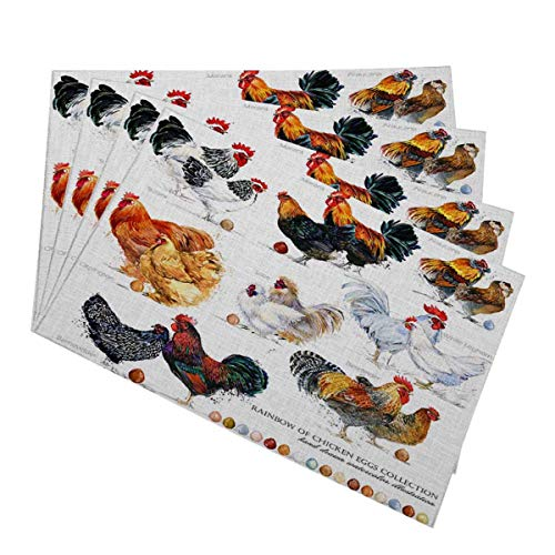 - Mugod Chicken Breed Collection Placemats Hand Drawn Watercolor Farm Hen Rooster Decorative Heat Resistant Non-Slip Washable Place Mats for Kitchen Table Mats Set of 4 12