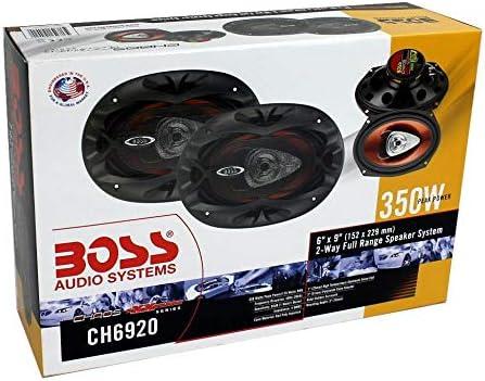 2 QTW6X9 Angled 6x9 Speaker Box Boss CH6920 6x9 2-Way 350W Car Speakers + 2