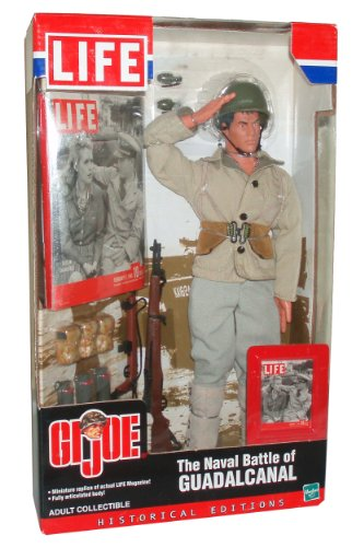 GI Joe Year 2002 LIFE Historical Edition 12 Inch Tall Soldier Action Figure Set - The Naval Battle of GUADALCANAL with Soldier Figure, Miniature LIFE Magazine, Reising 55 Submachine Gun, 30 Round Magazine Pouch, Miniature LIFE Magazine Cover, Smoke Grenades, Dog Tags with Chain, M1 Garand Rifle, Leggings, Helmet, Boots, Ammo Belt, Jacket, Pants, Grenade and Clip