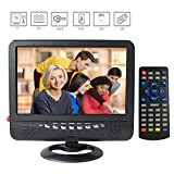 GJY 9-Inch Portable Widescreen TV, with Detachable Antennas, Built in Digital Tuner+NTSC,USB/TF Card Slot/Headphone Inputs, Full Function Remote, with Mini TV,Automotive Mobile TV