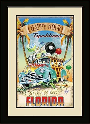 Northwest Art Mall JM-6624 FGDM HHE Florida Happy Hour Expeditions Framed Wall Art by Artist Jim Mazzotta, 16