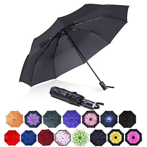 ABCCANOPY Umbrella Compact Rain&Wind Teflon Repellent Umbrellas Sun Protection with Black Glue Anti UV Coating Travel Auto Folding Umbrella, Blocking UV 99.98% (Black)