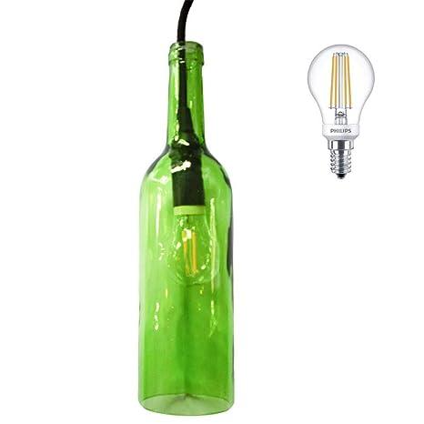 Set de iluminación de vino botella Cristal Verde Incluye Philips – Bombilla LED 5 W 470lm