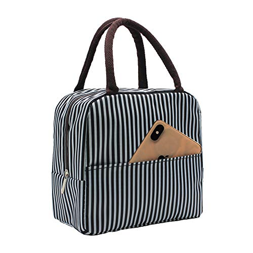 Mziart Insulated Lunch Bag for Women Men, Reusable Lunch Tote Lunch Box Organizer Cooler Bag with Front Pocket for Work Travel Picnic (Black White Stripes)
