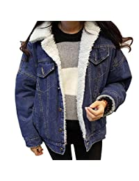 MIOIM Womens Winter Warm Jean Coats Long Sleeves Denim Coat Jacket Outwear