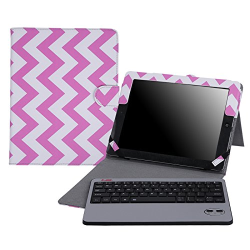 HDE iPad 2 Keyboard Case Wireless Bluetooth Leather Folio Cover Folding Stand for Apple iPad 2 3 4 (Pink Chevron)