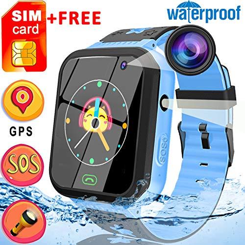 [Free SIM Card]Upgrade Kids Smart Watch Phone Waterproof 1.44