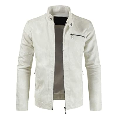 WINJUD Mens Jacket Autumn Winter Faux Leather Trench Coat Zip Up Motorcycle Windbreaker Top at Men's Clothing store
