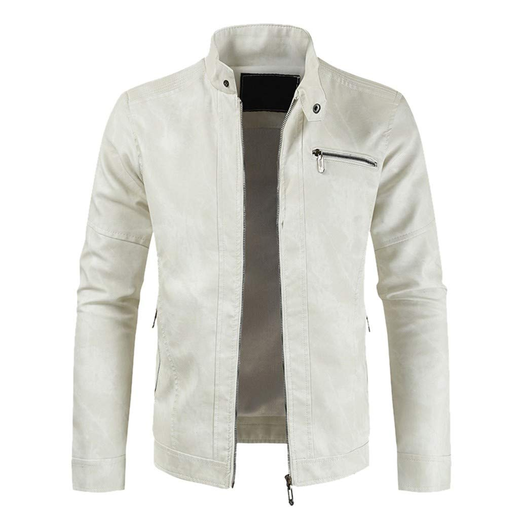 Botrong Men Winter Casual Leather Jacket Zipper Long Sleeve Coat Top Blouses (White,XXXL) by Botrong