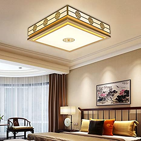 Cttsb Ceiling Lamp Modern Living Room Modern Warm Chinese Rectangular Living Room Study Room Dining Room Round Bedroom Square Large Length 64cm Width 64cm High 16cm Earth Hao Gold Amazon Com