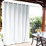 NICETOWN Patio Indoor Outdoor Curtain - Slider Blinds Thermal Insulated Silver Grommet Room Darkening Drape for Outdoors and Indoors (Greyish White, 1 Piece, 100 inches Wide by 108 inches Long)