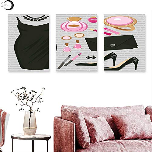 Clutch Ashley (Heels and Dresses Living Room Home Office Decorations Black Smart Cocktail Dress Perfume Make Up Clutch Bag Wall painting Black Light Pink Light Brown triptych art canvas W 24