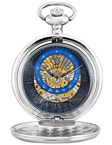 KS Full Hunter Constellation Roman Numerals Markers Skeleton Mechanical Pocket Watch (Silver Roman Markers)