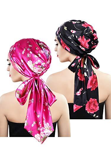 (Blulu 2 Pieces Soft Satin Head Scarf Sleeping Cap Bonnet Headwear Head Cover Turbans for Women (Set 2))