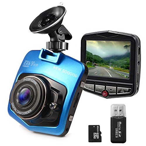 THINK SOGOOD 2.4″ HD1080P Car Dash Cam, 170° Wide Angle Car Video Camera with Loop Recording, Motion Detection, G-Sensor, Parking Monitor and 8G Micro SD Card