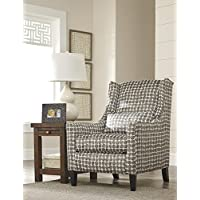 Lainier Contemporary Tan Fabric Wingback Block Print Accent Chair