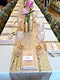 LQIAO Glitter 18PCS 13x108in-Sequin Table Runner-Sparkly Wedding Party Dining Kitchen Table Linens DIY, Champagne