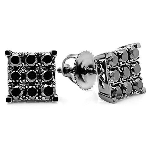 0.90 Carat (ctw) 10K White Gold Square Shaped Stud (Diamond Square Shaped Earrings)