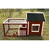 Advantek The White Picket Fence Rabbit Hutch with Connected Run & Pull Out Tray - Fits 2-3 Rabbits