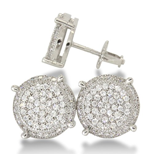 10mm Round Gold or Silver Tone Iced Out Cz HipHop Bling Screw Back Stud Earrings (Micro Pave Earrings)