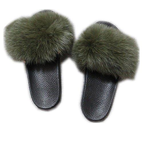 2 Sandals Sole Strap Women qmfur Slippers Toe Fox Green Slip Real Black Fur Single Open Slides On HqRagqw