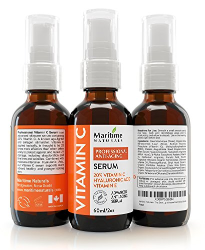 2 oz 20% Vitamin C Acid Serum + Vitamin E + Hyaluronic Acid - Moisturizer - Collagen Boost - Organic Facial Skin Care - Natural Ingredients