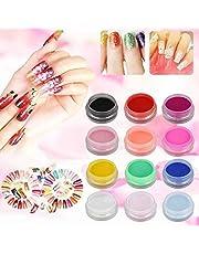 12 Colors Acrylic Nail Art Tips UV Gel Powder Dust DIY Decoration Set Manicure, Acrylic Powder, Acrylic UV Gel False Tips Nail Art Salon Tool Set