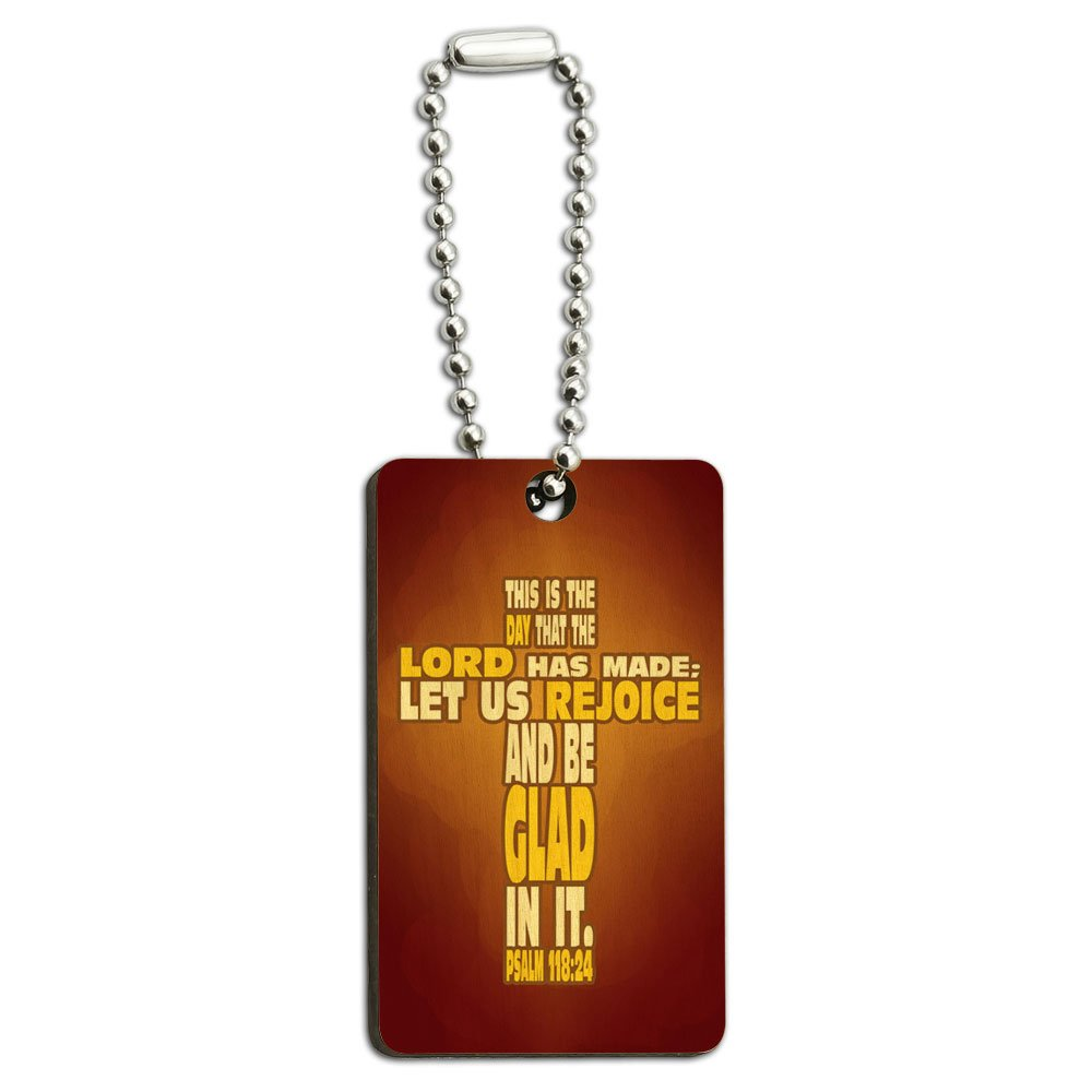 Bible Verse Cross Psalm - Religion Christianity Jesus Catholic This is day that the Lord has made Wood Wooden Rectangle Key Chain