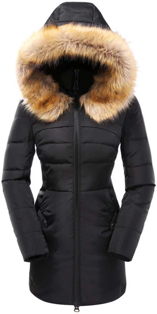 Valuker Women's Down Coat with Fur Hood 90D Parka Puffer Jacket 57-Black-XL by Valuker (Image #1)