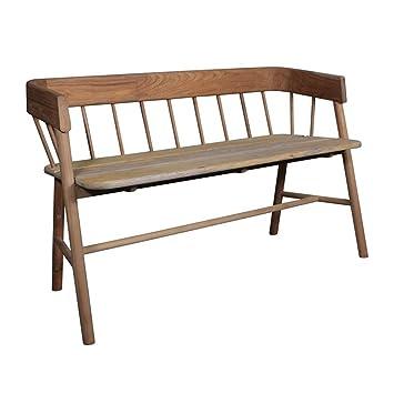 teak indoor wooden bench seat in natural finish: Amazon.co.uk ...