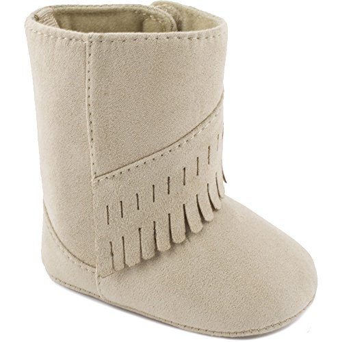 Wee Kids Baby-Girls Suede Cloth Western Baby Boots Fringe Trim Baby Shoes Cowboy Boots Tan Beige Size 1 -