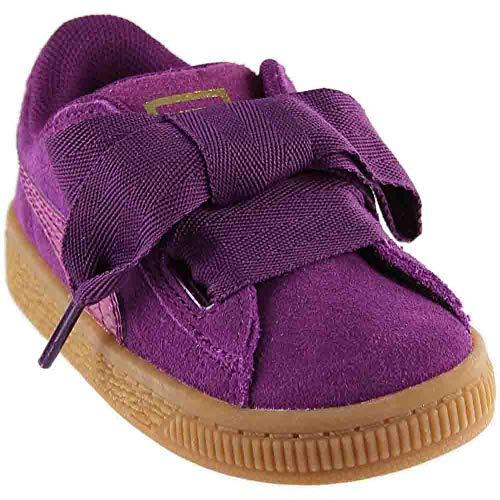 PUMA Unisex-Kids Suede Heart Snk,Dark Purple/Dark Purple,4 M US Toddler
