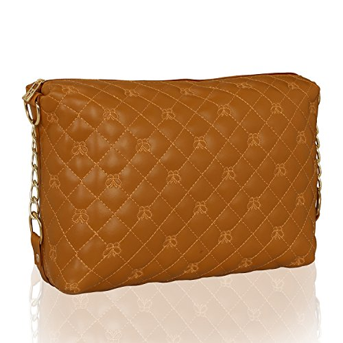 Kleio Women'S Quilted PU Leather Crossbody Bag Girls Purse Shoulder Handbag With Chain Strap (Tan) - Bag Quilted Tan