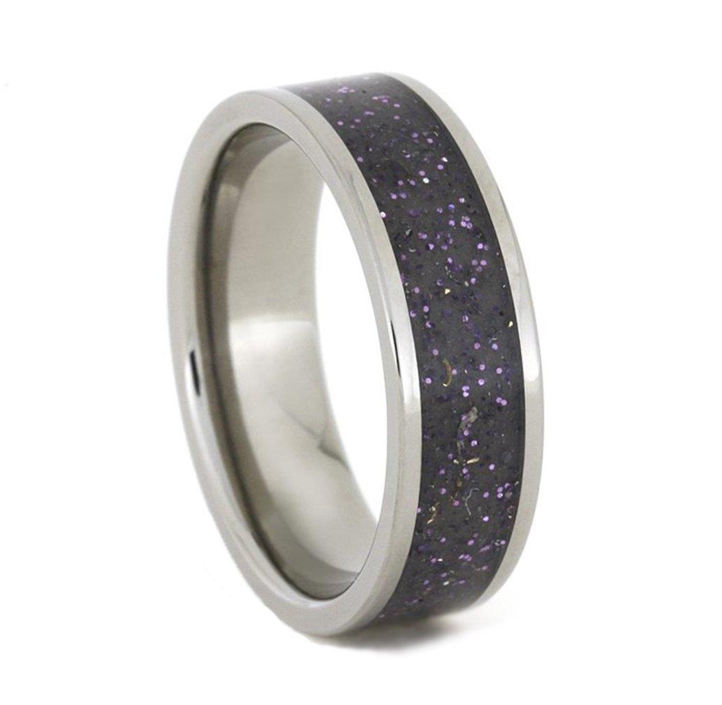 Dark Stardust Inlay 7mm Comfort-Fit Titanium Wedding Band, Size 10