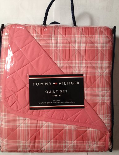 (Tommy Hilfiger 2pc Twin Quilt and Standard Pillow Sham Pristine Plaid)