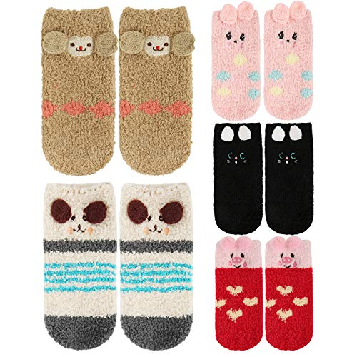 Baby Boys Girls Anti Grip Fuzzy Slipper Sock Animal Soft Fluffy Warm Ankle Floor]()