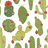 Entertaining with Caspari 9698RC Merry Cactus Continuous Roll of Gift Wrapping Paper, 8', 1-Roll, Multicolored