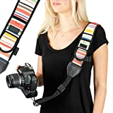 Camera Strap Shoulder Sling with Adjustable Vintage Stripe Neoprene, Accessory Pocket, Quick Release Buckle by USA Gear – Works with Canon, Nikon, Sony and More DSLR, Mirrorless Cameras For Sale