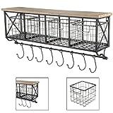 4-Basket Wall Organizer | Rust-colored metal Shelf with Metal Baskets & Hooks | Farmhouse Rustic Decor Theme
