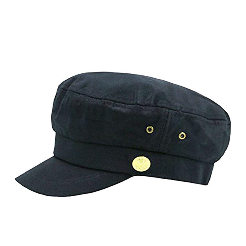 fe8f089c63f2d Fitted Army Cap Men Women Unisex Captain Hats Retro Style Plain Flat Caps  Hat Balck at Amazon Men s Clothing store