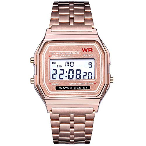 LED Digital Waterproof Quartz Wrist Watch Dress Golden Wrist Watch Women Men,Outsta Clock Gift Watches Round Case Wristwatches (Rose Gold)